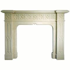 19th Century Gothic Reproduction Mantel Carved in Portland Limestone