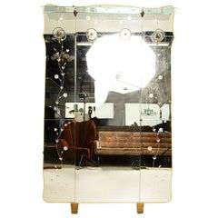 Vintage Italian Full Length Mirror with Shelve and Hooks after Fontana Arte