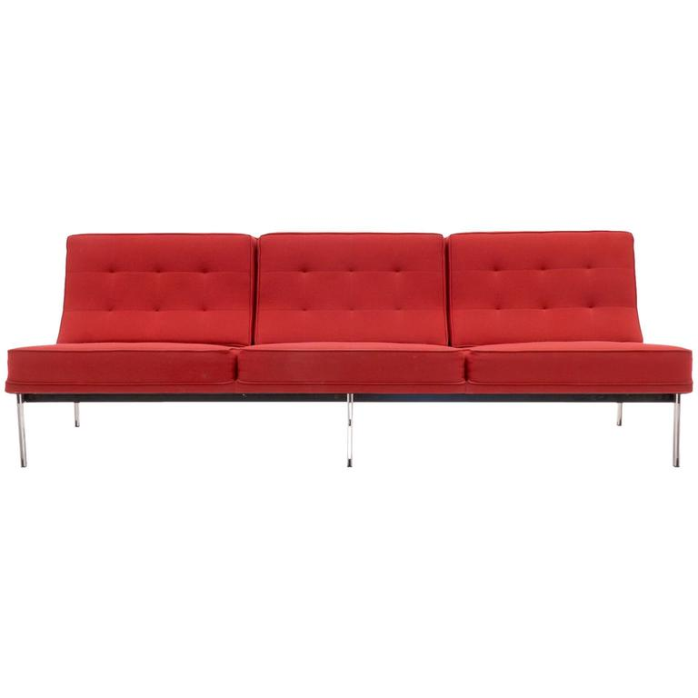 Florence Knoll Parallel Bar Three Seat Armless Sofa Red Wool Fabric For