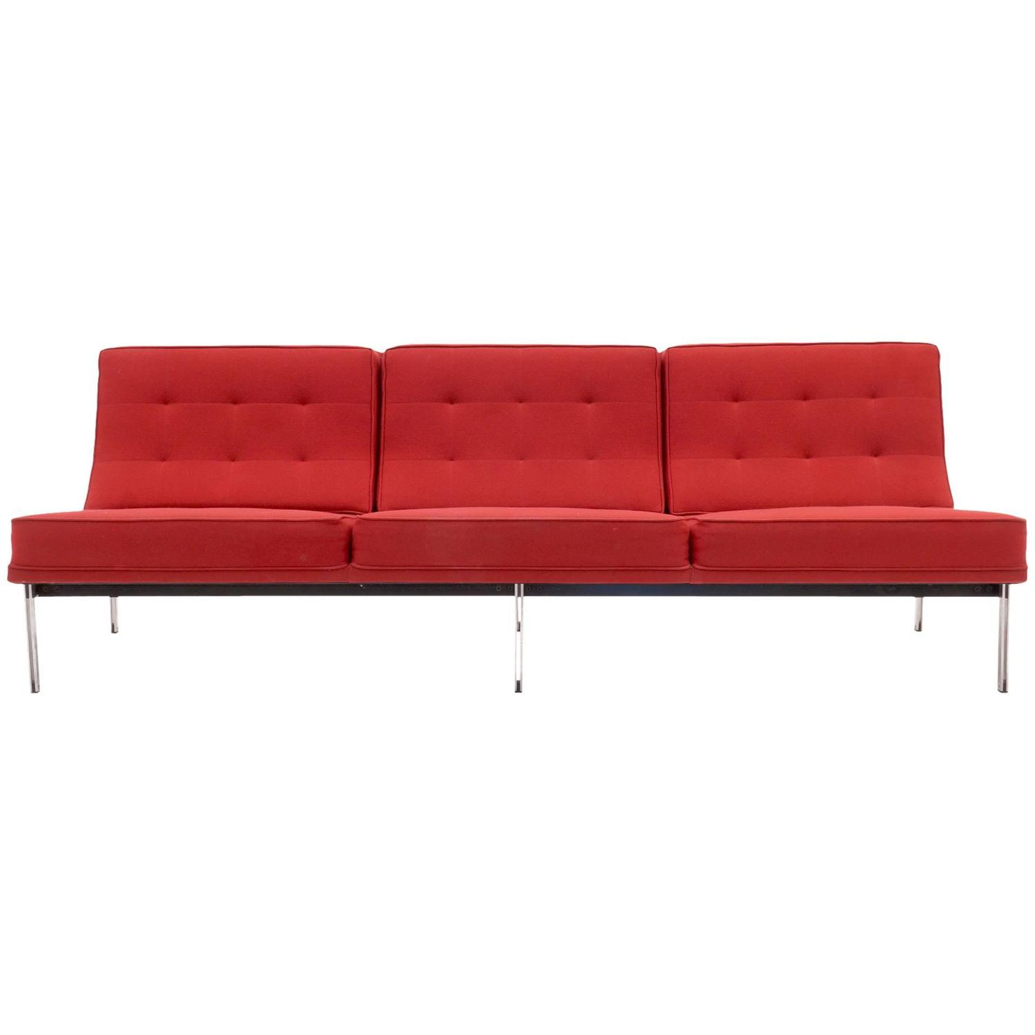Florence Knoll Parallel Bar Three Seat Armless Sofa Red Wool