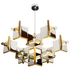 Brass and Mirrored Chrome Chandelier by Gaetano Sciolari