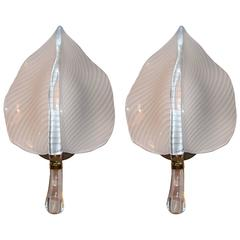 Pair of Murano Glass Leaf Form Wall Sconces