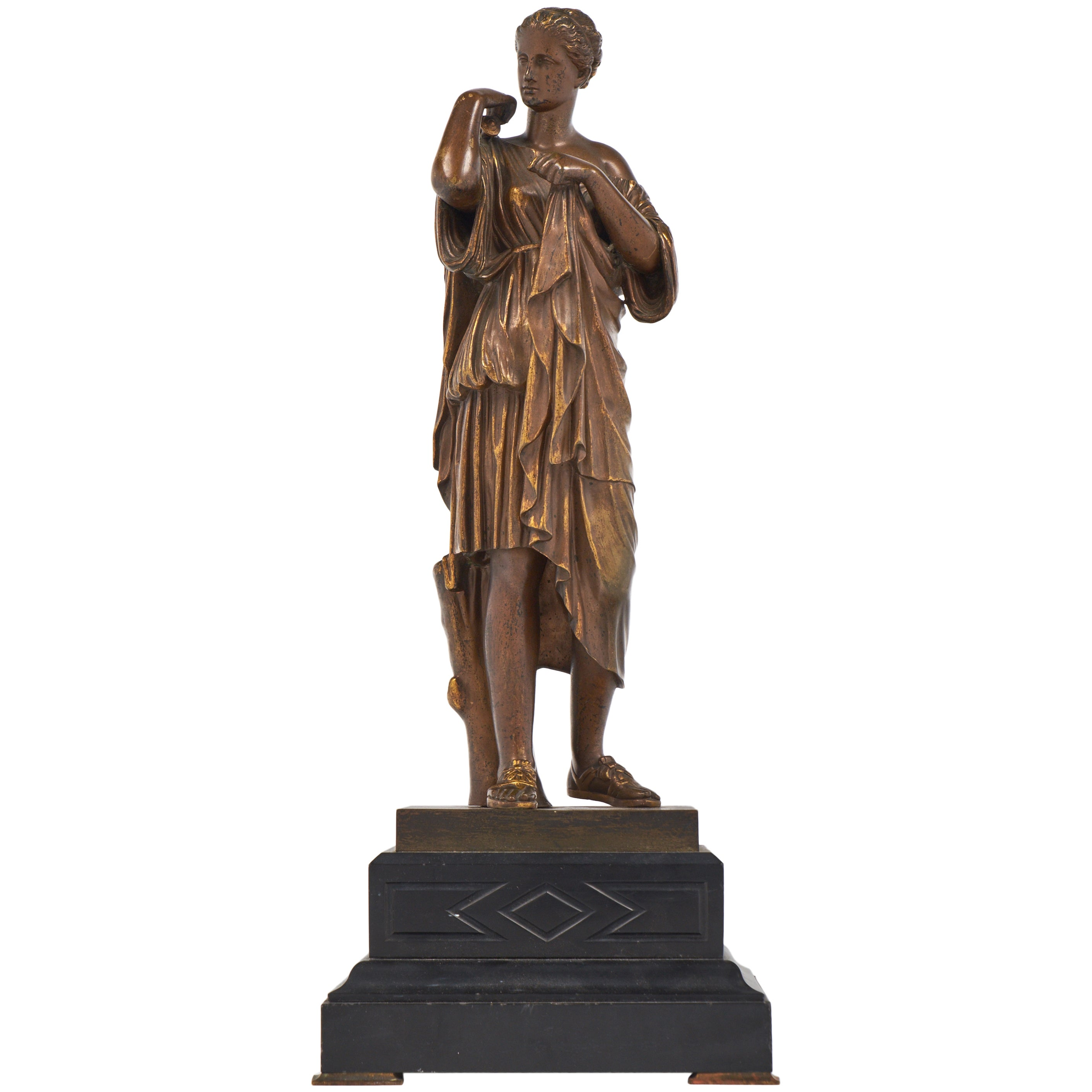 French Antique Bronze Statue of an Athenian Woman