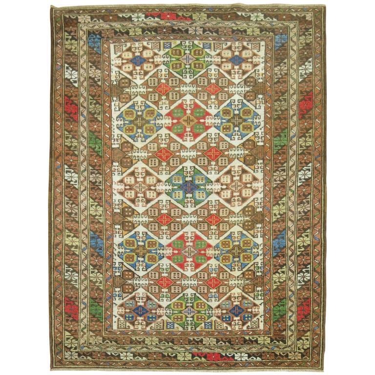 Colorful Antique Caucasian Rug