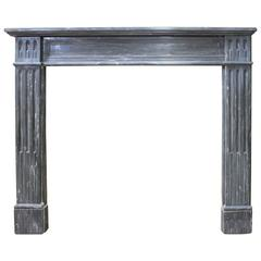 French Louis XVI Style Blue Turquin Marble Mantelpiece