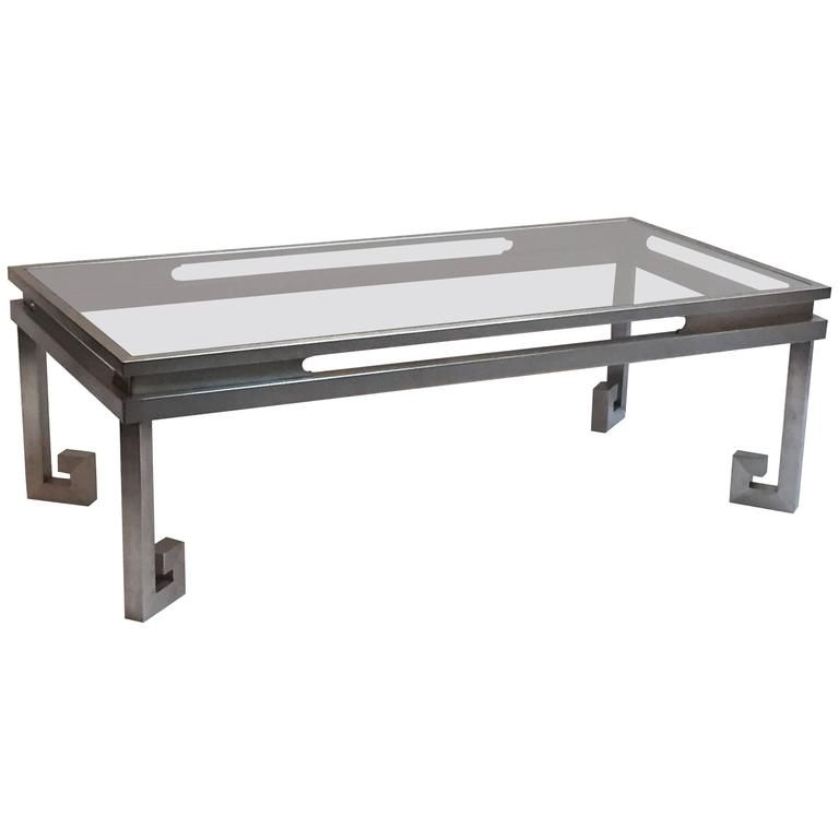 Large French Cocktail Table of Brushed Steel and Smoked Glass, Greek Key