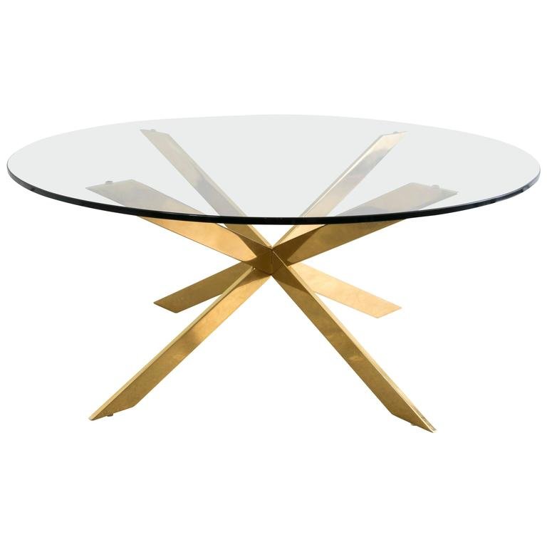 Double x round brass coffee table by pace collection at for Double round coffee table