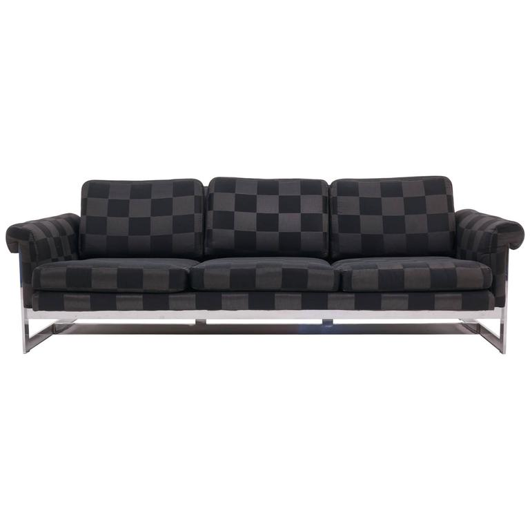 Milo Baughman for Thayer Coggin Chrome Frame Sofa, New Black/Gray Check Fabric