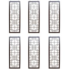 Six Wenge Wood Chinese Fretwork Screens