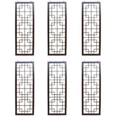 Six Wenge Wood Chinese Fretwork Screens