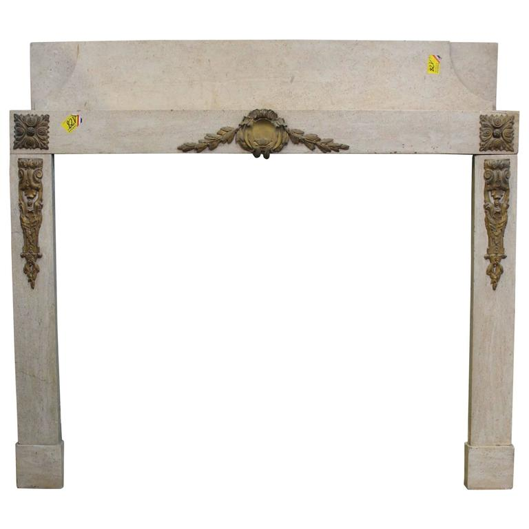 French Art Deco Marble Mantel with Bronze Mounts