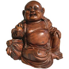 Chinese Qing Dynasty Carved Hardwood Figure of Budai