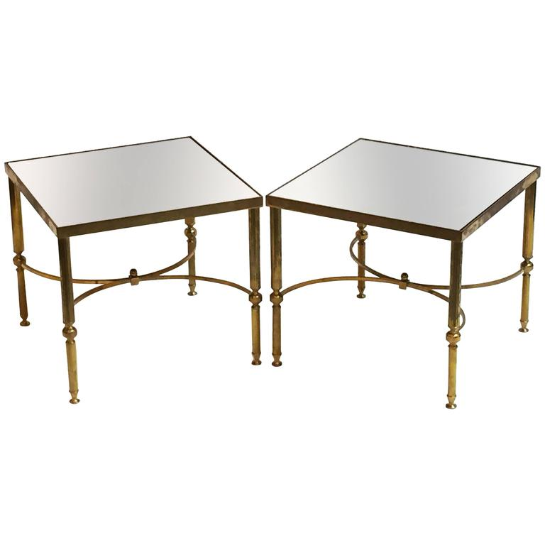 pair of french low side tables of brass and mirrored glass 1