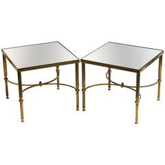 Pair of French Low Side Tables of Brass and Mirrored Glass