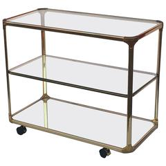 French Three-Tiered Rolling Drinks Cart of Metal, Glass and Mirrored Glass