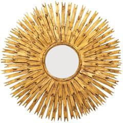 Vintage Spanish Pair of Gold Leaf Sunburst Mirrors