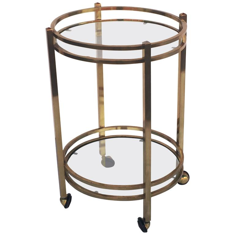 French Two Tiered Round Table Of Brass And Glass On