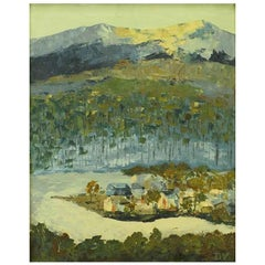 Signed Oil On Board Abstract Of Village & Mountains