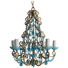 Five-Light French Beaded Chandelier with Blue Drops