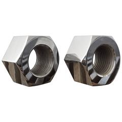 Polished Nickel Nut Bookends by Design Line