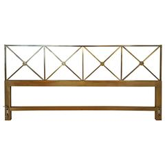 Tommi Parzinger Style King-Sized Brass Campaign Headboard