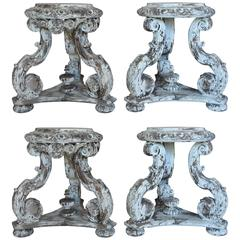 Set of Four Italian Carved Painted Stools/Tables