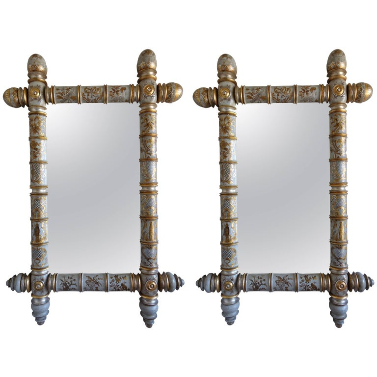 Pair of Chinoiserie Painted Bamboo Style Mirrors For Sale