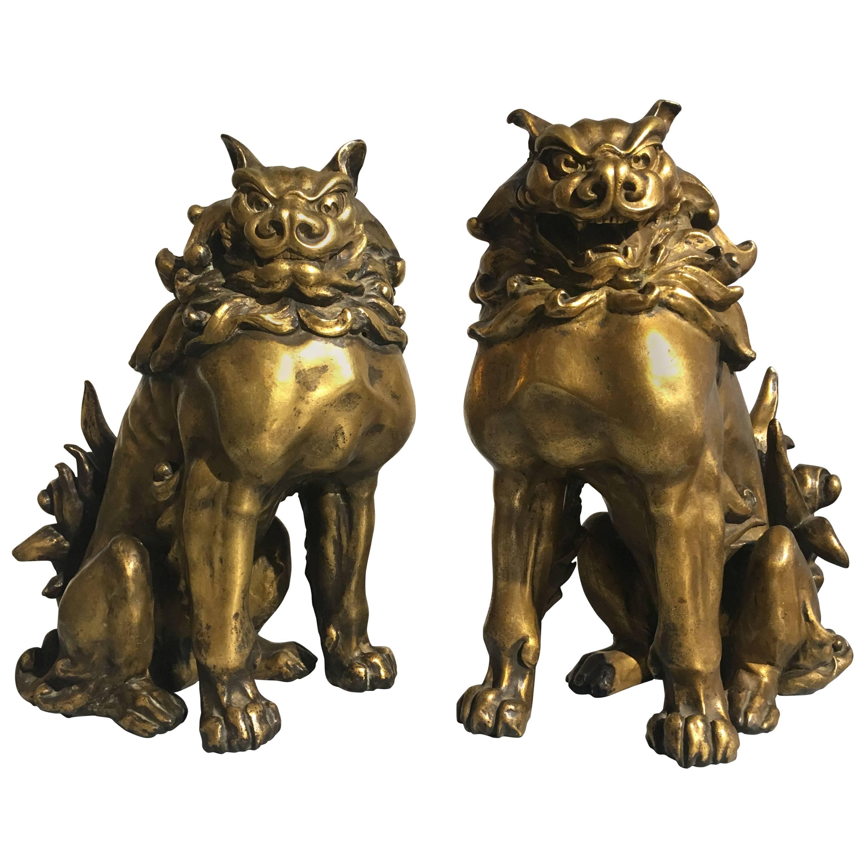 Pair of Japanese Gilt Bronze Komainu by Ishikawa Komei, Meiji Period