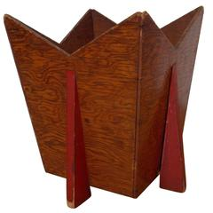 Deco Wood Planter or Trash Bin Frank Lloyd Wright Attributed