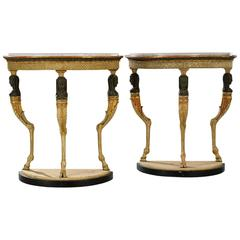 Pair of Important Swedish Demilune Console Tables