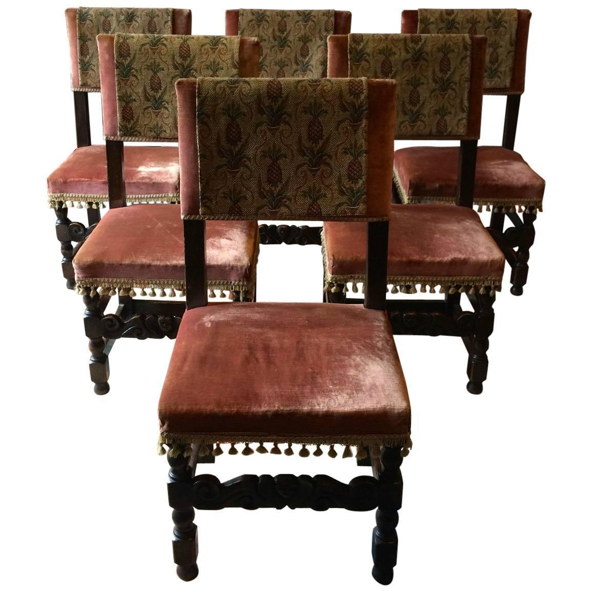 Large Victorian Dining Room: Antique Dining Chairs Six Oak Leather Victorian 17th