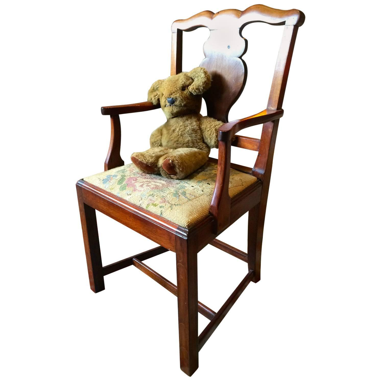 antique childs armchair and teddy bear mahogany victorian