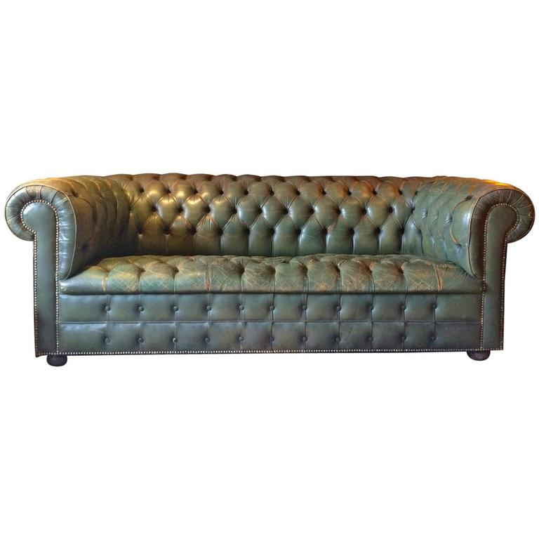 Antique Style Chesterfield Sofa Green Leather Button Back Battered At 1stdibs