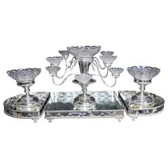 Victorian Silver Plate Centrepiece Epergne Glass