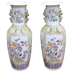 Pair of Big Chinese Porcelain Famille Rose Porcelain Urns