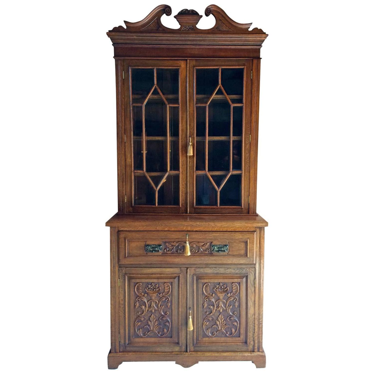 antique bookcase secretaire writing bureau edwardian solid golden oak at 1stdibs. Black Bedroom Furniture Sets. Home Design Ideas