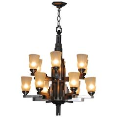 20th Century Cubist Art Deco Chandelier from France