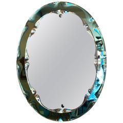 1950s-1960s Italian blue green Moulded Mirror