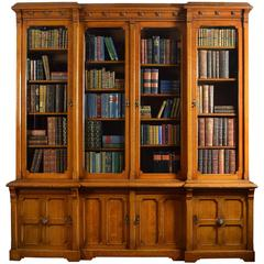Large Oak Four Door Bookcase