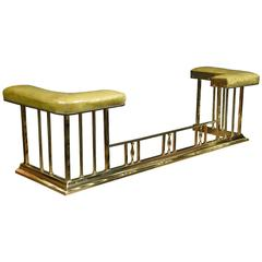 Early 20th Century Brass and Leather Upholstered Club Fender
