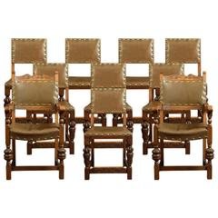 Set of Ten Carved Dining Chairs