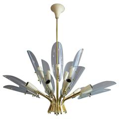Mid-Century Modern Italian Chandelier in Brass and Glass