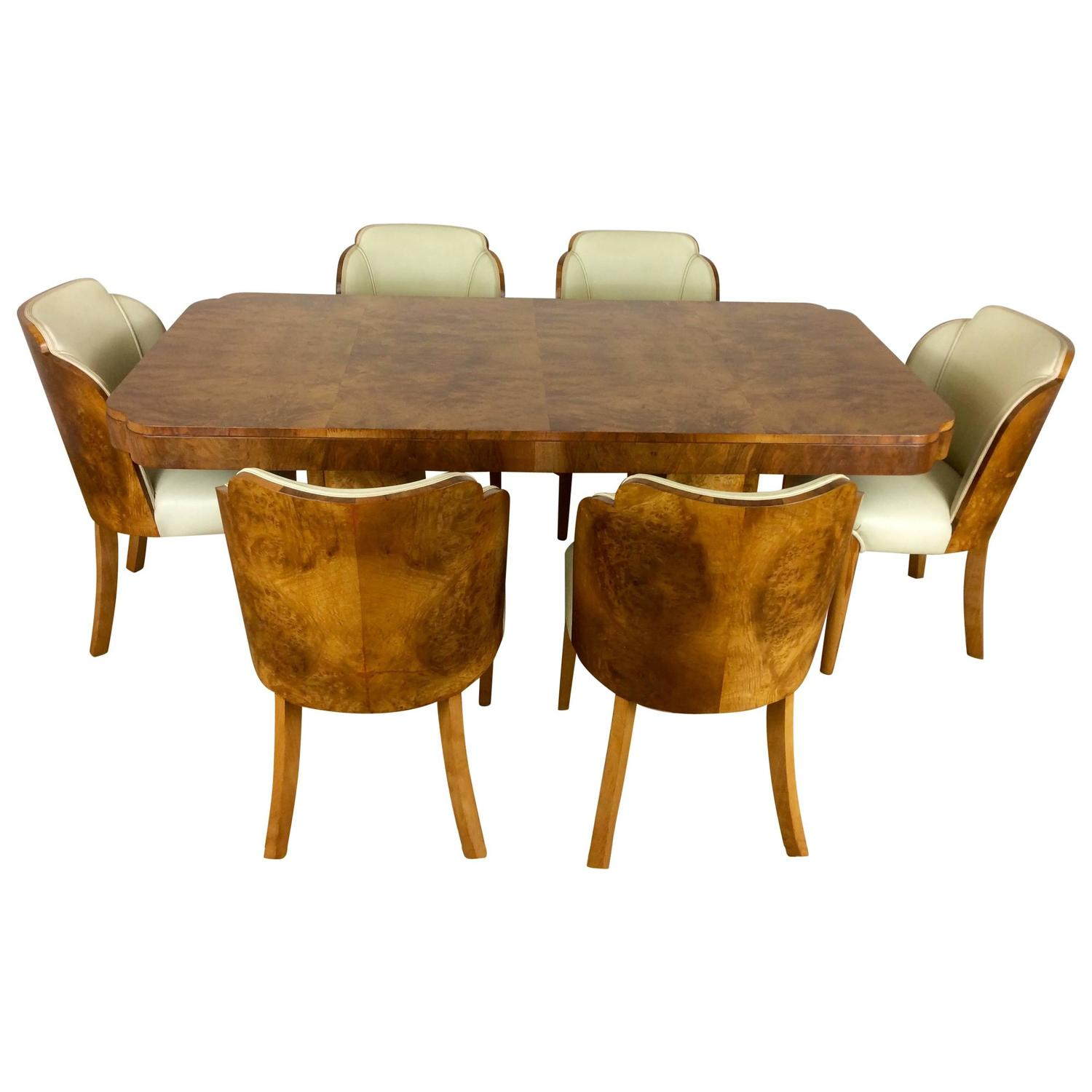 Art Deco Cloud Design Dining Table And Chairs In A Stunning Maple For Sale At