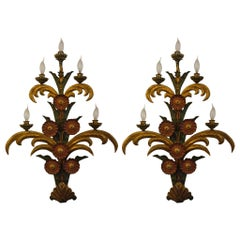 Pair of Floral Gilt Metal Sconces Maison Jansen, France, 1940, Signed