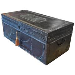 Travel Trunk Chest Coffee Table Leather Brass Studded, 19th Century