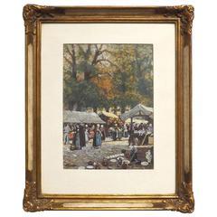 'Antique Market, Bruges' by Listed German Artist Albert Engstfeld