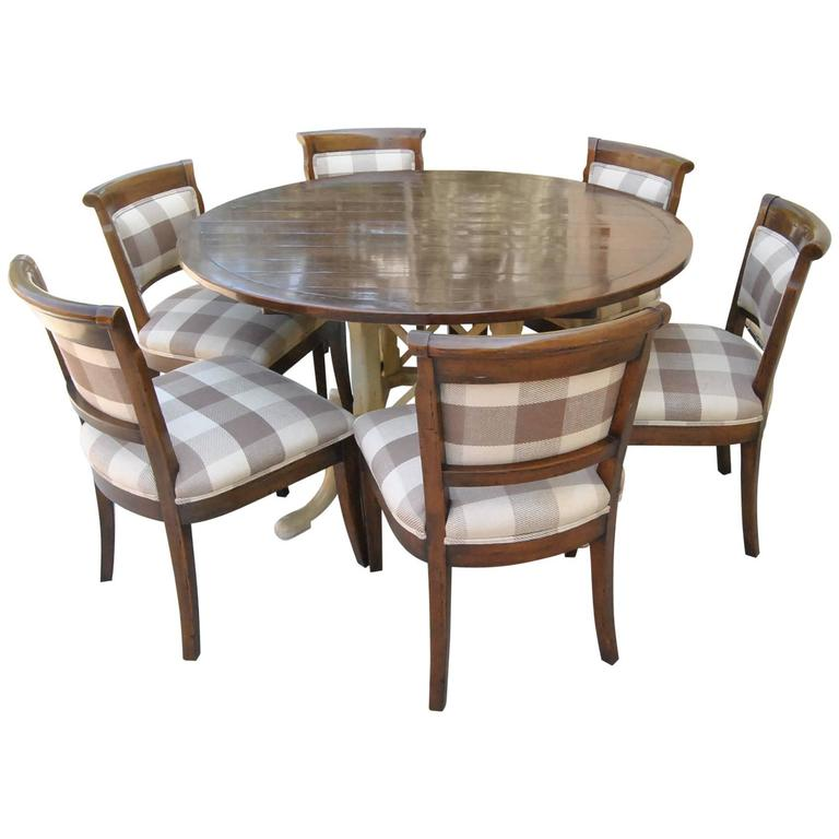 Country French Kettering Round Table And Six Dudley Side Chairs By Guy Chaddock For