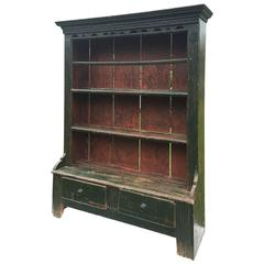 Irish Green Painted Hanging Cupboard, circa 1850