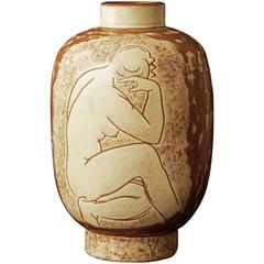 """Seated Nude,"" Rare Art Deco Vase by Vicke Linstrand, 1940s"