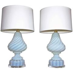 Pair of Barovier & Toso Opalescent Murano Glass Lamps